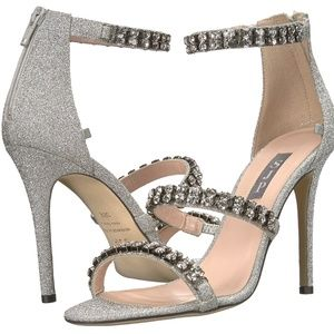 SJP Orbit Silver Crystal Embellished Heels